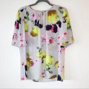 Liz Claiborne Watercolor Short Sleeve Shell Top XL